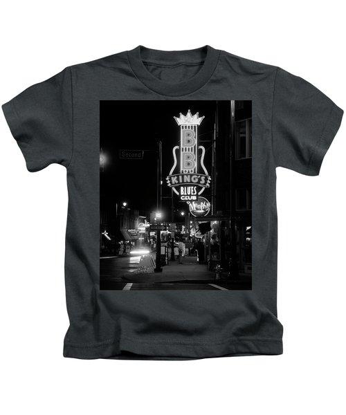 Neon Sign Lit Up At Night, B. B. Kings Kids T-Shirt