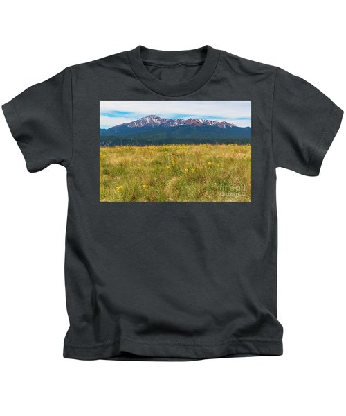 Wildflowers And Pikes Peak Kids T-Shirt