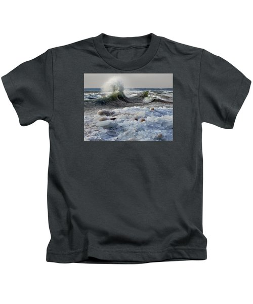 Winter Waves At Whitefish Dunes Kids T-Shirt