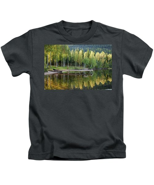 Birches And Reflection Kids T-Shirt