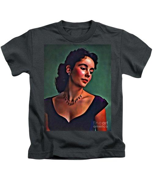 Elizabeth Taylor, Vintage Hollywood Legend By Mary Bassett Kids T-Shirt