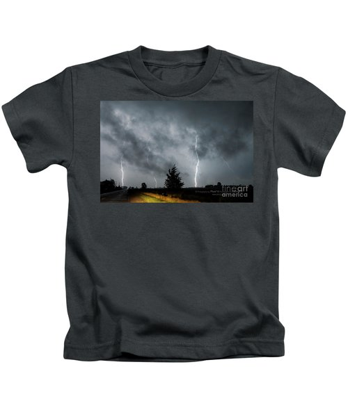 3 Lightning Bolts Through The Clouds By Kathryn Kids T-Shirt