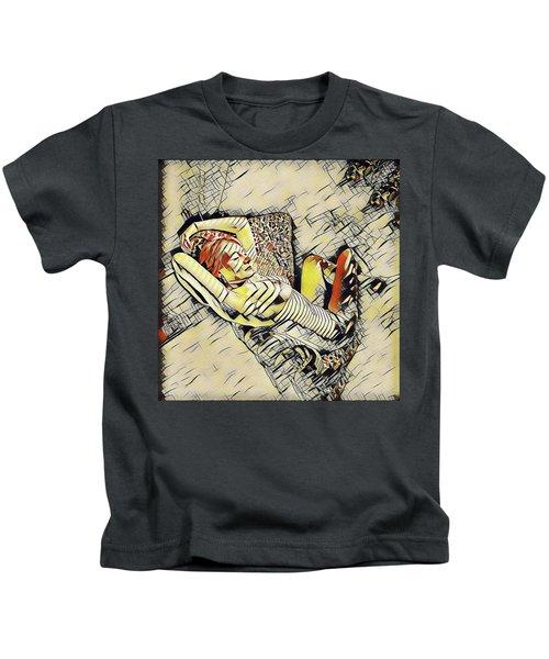 4248s-jg Zebra Striped Woman In Armchair By Window Erotica In The Style Of Kandinsky Kids T-Shirt