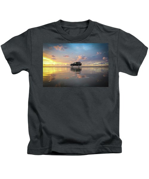 4wd Vehicle And Stunning Sunset Reflections On Beach Kids T-Shirt