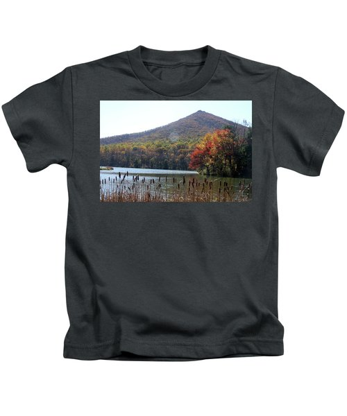 View Of Abbott Lake And Sharp Top In Autumn Kids T-Shirt