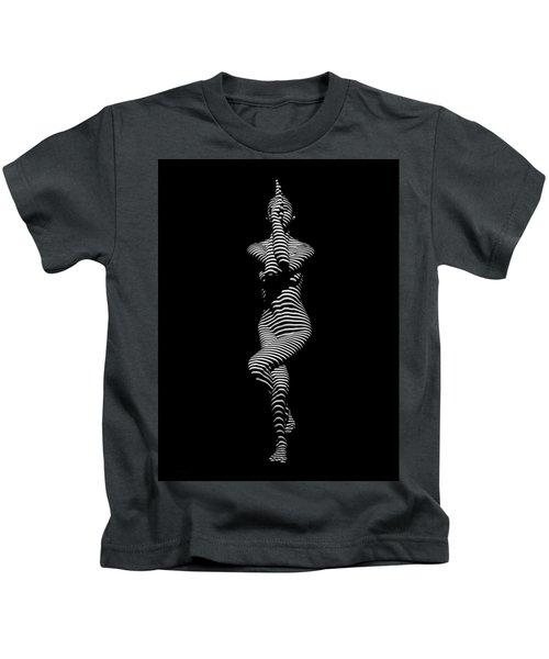 9486-dja Yoga Woman Illuminated In Stripes Zebra Black White Absraction Photograph By Chris Maher Kids T-Shirt