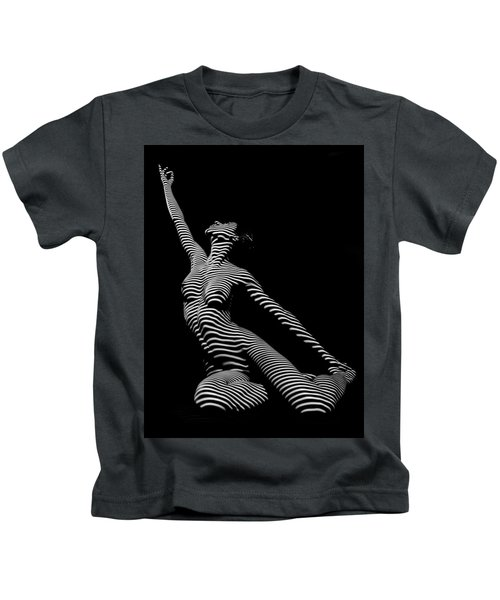 9970-dja Zebra Striped Yoga Reaching Sensual Lines Black White Photograph Abstract By Chris Mahert Kids T-Shirt