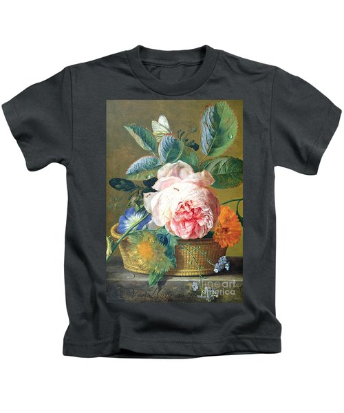 A Basket With Flowers Kids T-Shirt by Jan van Huysum
