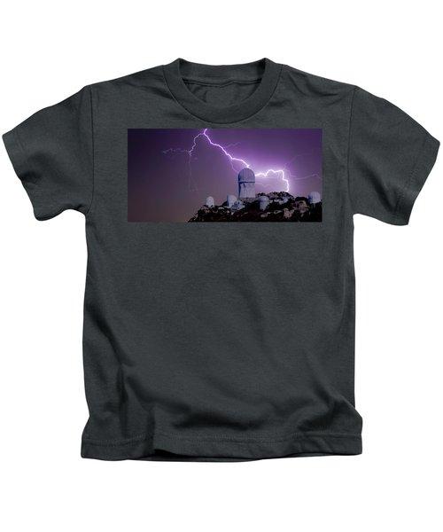 A Bolt Of Lightning Over An Observatory Kids T-Shirt
