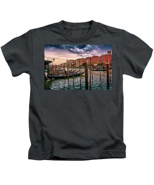 Vintage Buildings And Dramatic Sky, A Dreamlike Seascape In Venice Kids T-Shirt