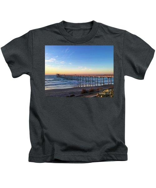 A Long Look At Scripps Pier At Sunset Kids T-Shirt