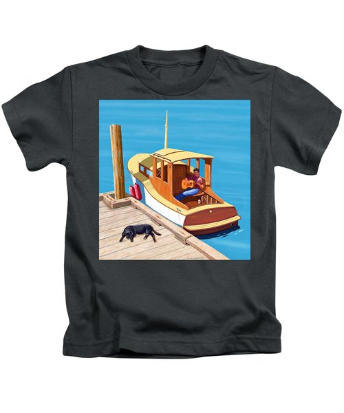 A Man, A Dog And An Old Boat Kids T-Shirt