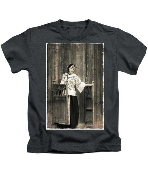 A Model In A Period Costume. Kids T-Shirt
