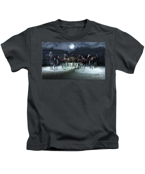 A Night Of Wild Horses Kids T-Shirt