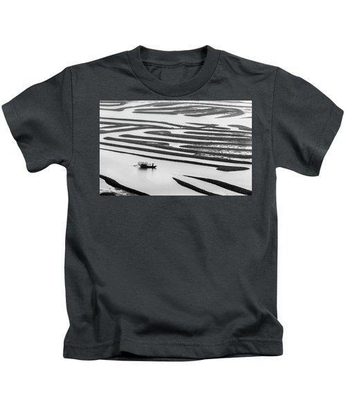 A Solitary Boatman. Kids T-Shirt