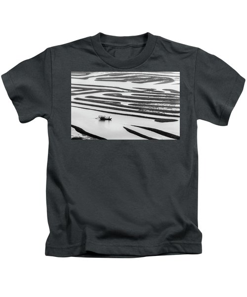 A Solitary Boatman. Kids T-Shirt