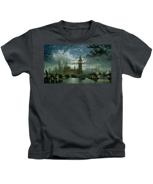 A View Of Westminster Abbey And The Houses Of Parliament Kids T-Shirt by John MacVicar Anderson