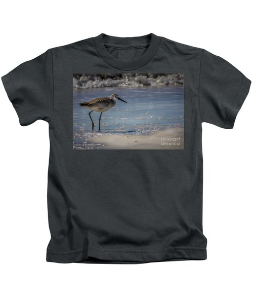 A Walk On The Beach Kids T-Shirt by Marvin Spates