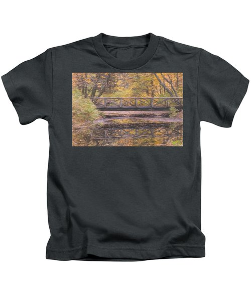 A Walking Bridge Reflection On Peaceful Flowing Water. Kids T-Shirt