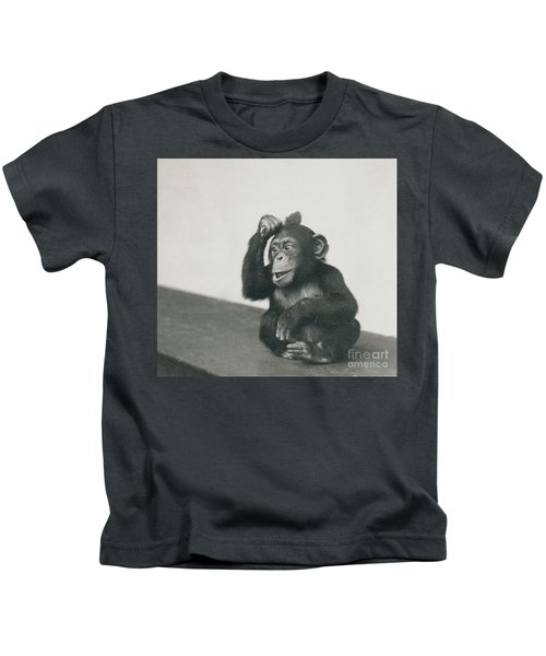 A Young Chimpanzee Playing With A Brush Kids T-Shirt