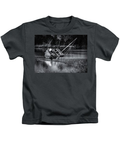 Abandoned Ship In Monochrome Kids T-Shirt