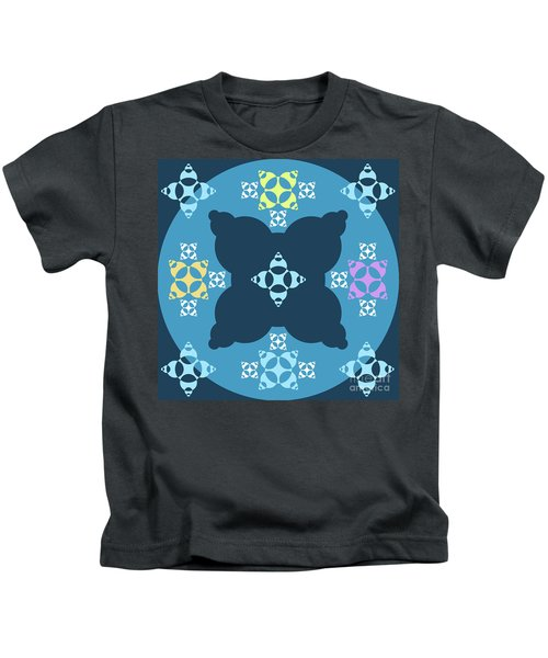 Abstract Mandala Blue, Dark Blue And Cyan Pattern For Home Decoration Kids T-Shirt