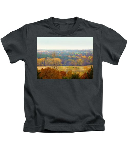 Across The River In Autumn Kids T-Shirt