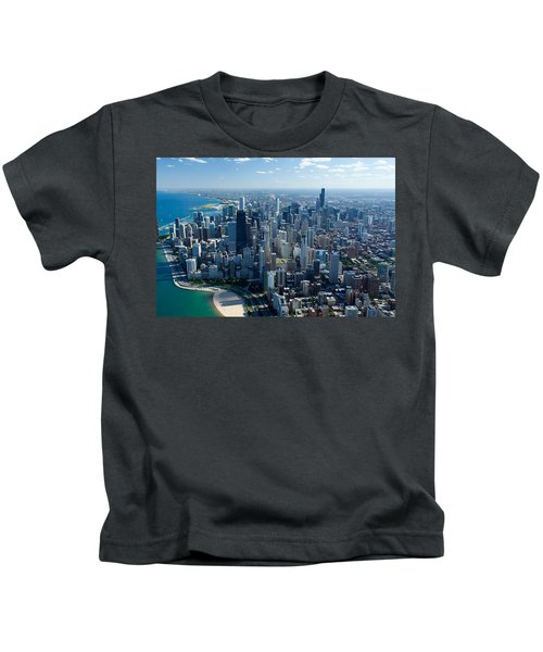 Aerial View Of A City, Lake Michigan Kids T-Shirt by Panoramic Images