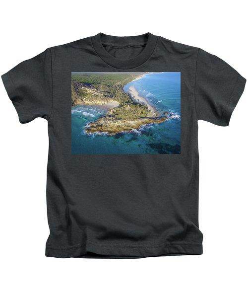 Aerial View Of North Point, Moreton Island Kids T-Shirt