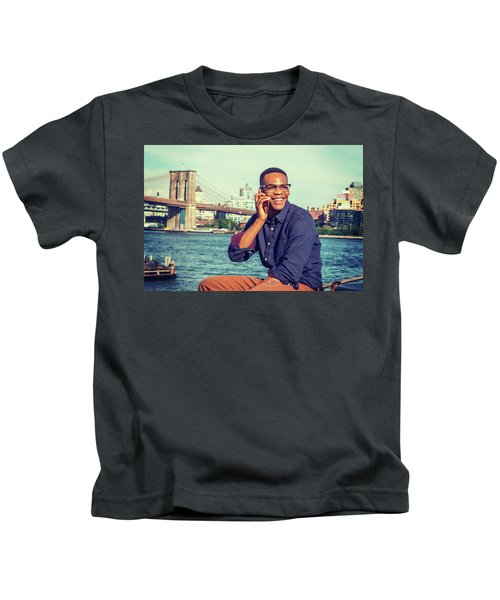 African American Man Traveling In New York Kids T-Shirt