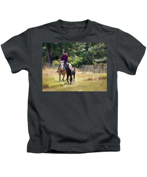 Afternoon Ride In The Sun - Cowgirl Riding Palomino Horse With Foal Kids T-Shirt