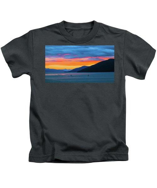 Alaska Fishermans Sunset Kids T-Shirt