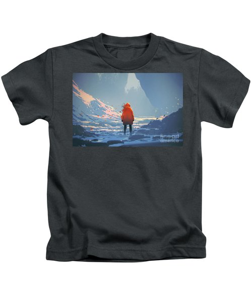 Kids T-Shirt featuring the painting Alone In Winter by Tithi Luadthong