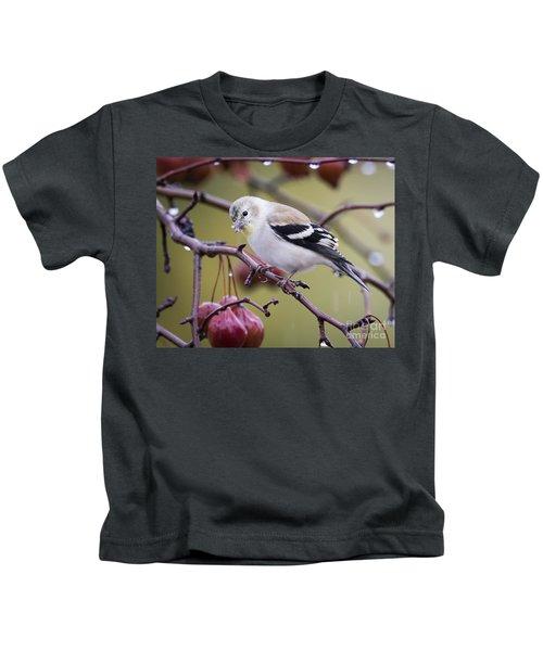 American Goldfinch In The Rain Kids T-Shirt