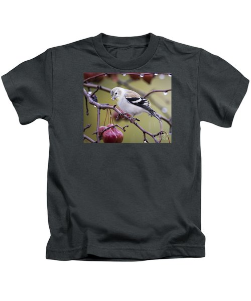 American Goldfinch In The Rain Kids T-Shirt