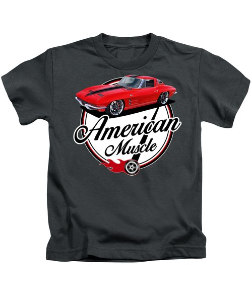 American Muscle In Red Kids T-Shirt