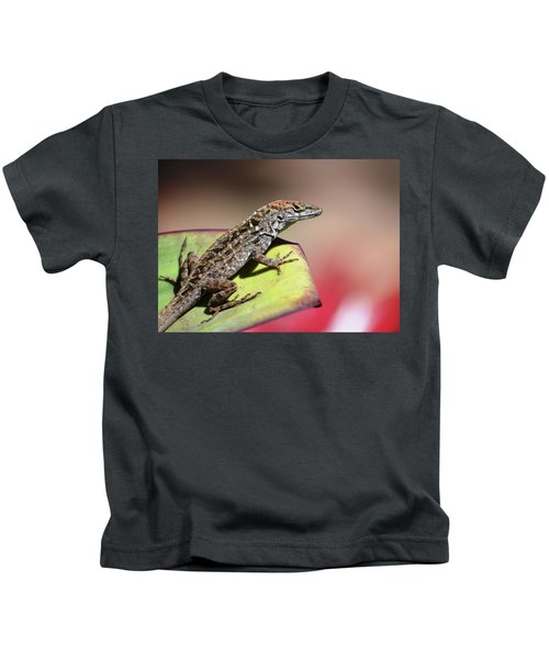 Anole In Rose Kids T-Shirt