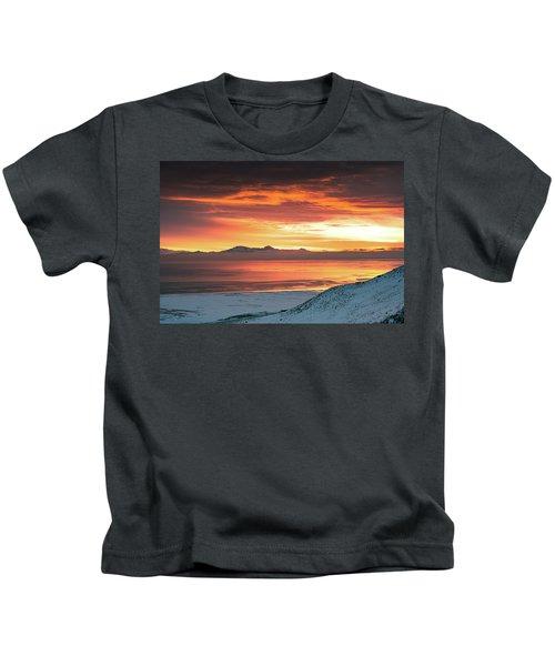Antelope Island Sunset Kids T-Shirt