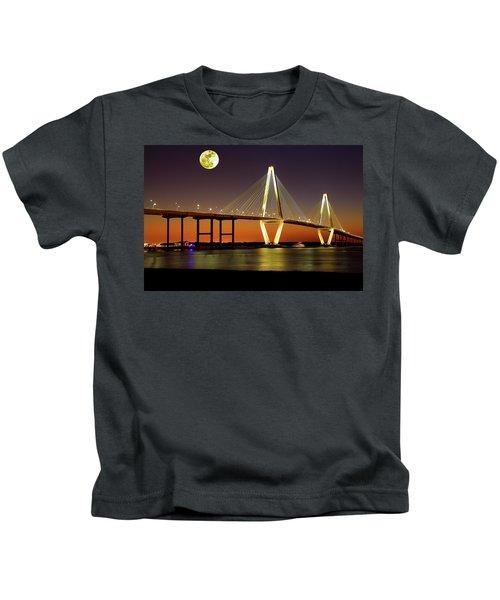 Arthur Ravenel Bridge At Night Kids T-Shirt