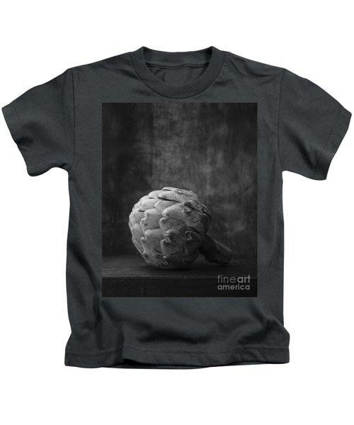 Artichoke Black And White Still Life Kids T-Shirt by Edward Fielding