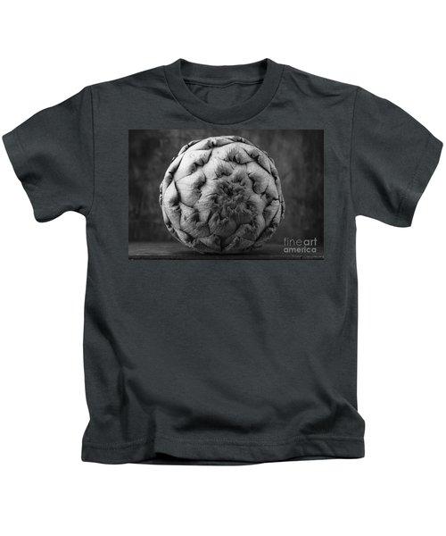 Artichoke Black And White Still Life Two Kids T-Shirt by Edward Fielding