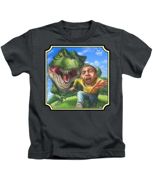 Tyrannosaurus Rex Jurassic Park Dinosaur - T Rex - T Rex - Extinct Predator - Square Format Kids T-Shirt by Walt Curlee