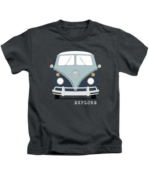 Vw Bus Blue Kids T-Shirt by Mark Rogan