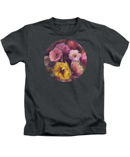 Abundance- Floral Painting Kids T-Shirt by Mary Wolf