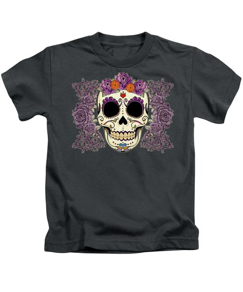 Vintage Sugar Skull And Roses Kids T-Shirt by Tammy Wetzel