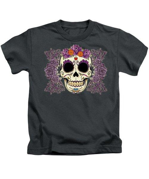 Vintage Sugar Skull And Roses Kids T-Shirt