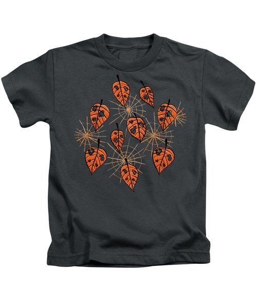 Orange Leaves With Holes And Spiderwebs Kids T-Shirt