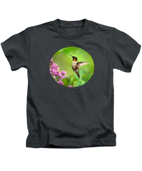 Welcome Home Hummingbird Kids T-Shirt by Christina Rollo