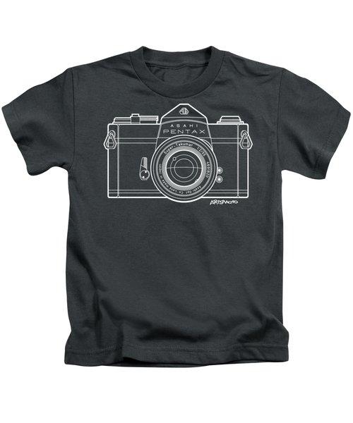 Asahi Pentax 35mm Analog Slr Camera Line Art Graphic White Outline Kids T-Shirt