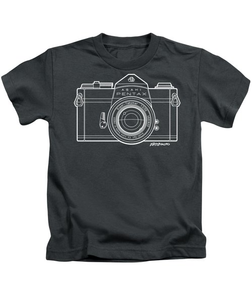 Asahi Pentax 35mm Analog Slr Camera Line Art Graphic White Outline Kids T-Shirt